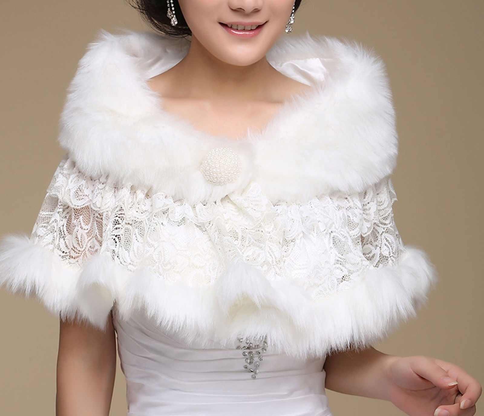 สีขาวชั้นดอกไม้ลูกไม้ Faux Fur เจ้าสาวงานแต่งงาน Cape Shrug Bolero Wrap