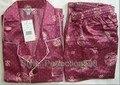 Бургундия Китайских людей Silk Район 2 шт. Ночное Одеяние пижамы пижамы Наборы Ванна Платье Sml XL XXL XXXL SH018