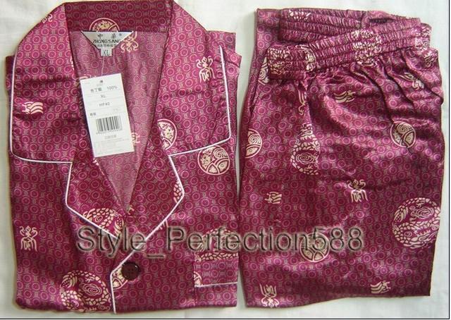 Borgoña de Los Hombres Chinos de Seda Rayón 2 unid Ropa de Dormir ropa de dormir Robe Pijamas Conjuntos de Baño Vestido Sml XL XXL XXXL SH018
