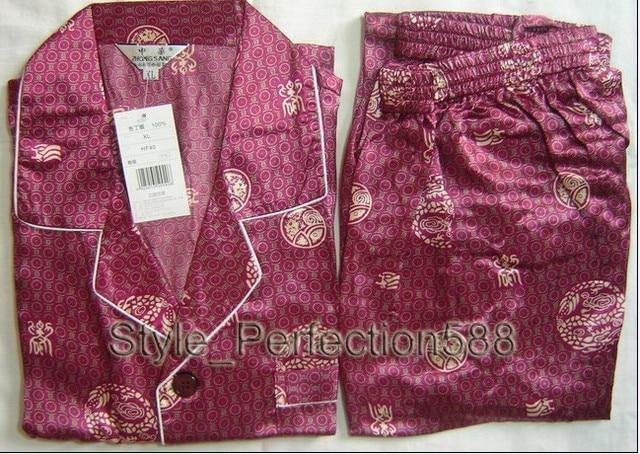 Burgundy Chinese Men's Silk Rayon 2pc Nightwear Robe sleepwear Pyjamas Sets Bath Gown  S M L XL XXL XXXL SH018