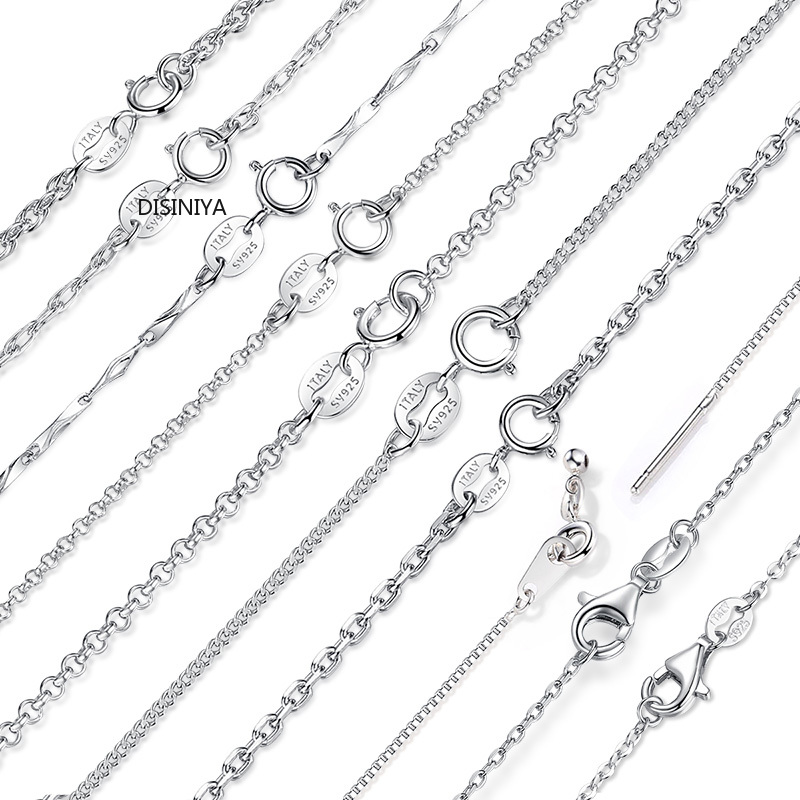 DISINIYA Classic Basic Chain 100 925 Sterling Silver Lobster Clasp Adjustable Necklace Chain Fashion Jewelry SCA009 45 in Chain Necklaces from Jewelry Accessories
