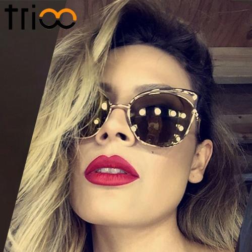 TRIOO Yüksək keyfiyyətli pişik gözlü qadın eynəyi gül - Geyim aksesuarları - Fotoqrafiya 4
