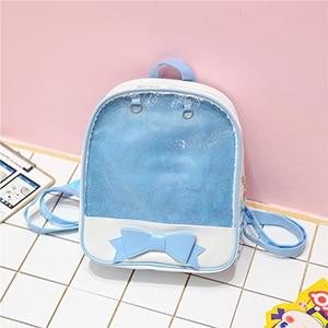 Clear Transparent Women Backpack Cute Bow Ita Bags For School Mini Pink  Black Schoolbags For Teenage Girls Fashion Bookbag 2018 c953ca085bb5
