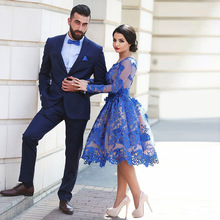2016 Delicate Royal Blue Lace Appliques Long Sleeves Tea-Length Prom Dresses Short Formal Party Dress Robe De Soiree EE19