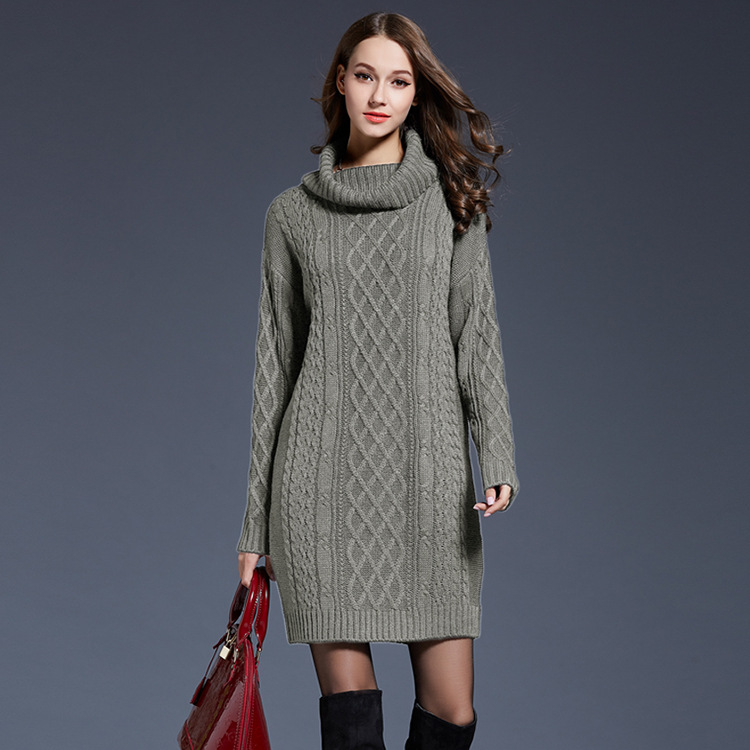 2a8838f490 Knitted Sweater Dress Turtleneck Women 2018 New Pullover Long Slee...