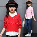 Cotton Girls Sweaters Patchwork Style Students Sweaters For Girls Clothing Children Christmas Clothes Kids Tops 5- 14 Years