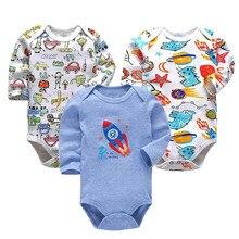 цена на 3 PCS/LOT Newborn Baby Clothing 2019 New Fashion Baby Boys Girls Clothes 100% Cotton Baby Bodysuit Long Sleeve Infant Jumpsuit