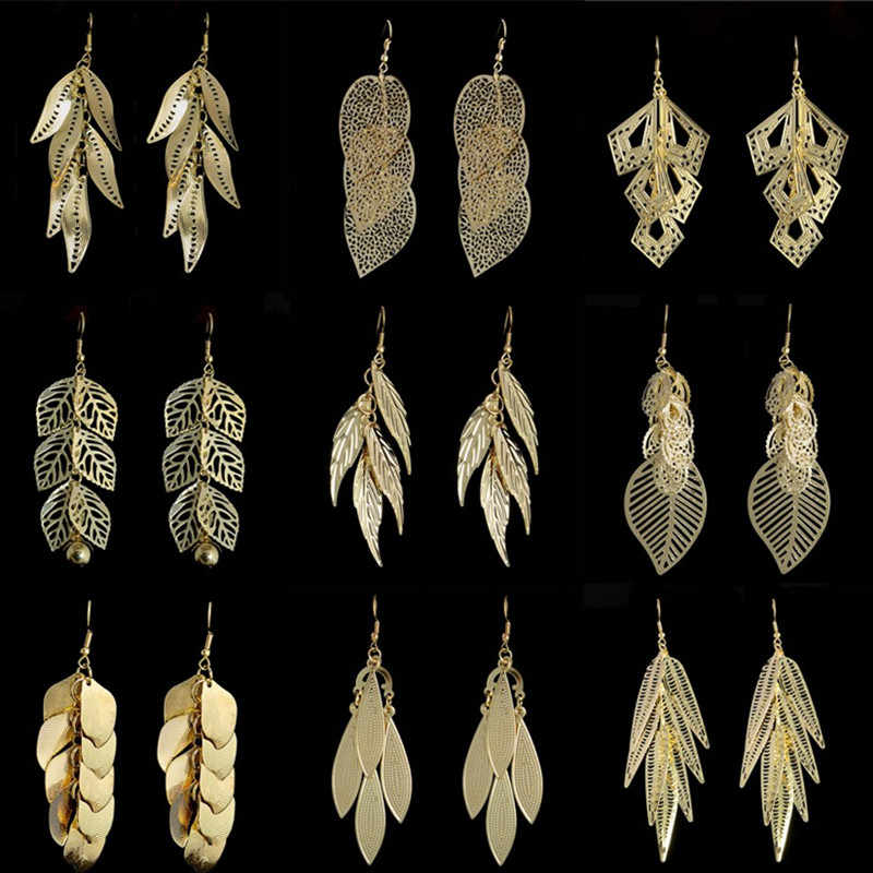 1 pair 2015 New Brand Fashion Jewelry Yellow Gold Filled Leaf Earrings 9 Styles Drop Dangle Earrings for Women Free Shipping