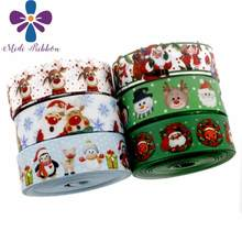 "7/8 ""22 Mm Christmas Series Cute Elk Dicetak Grosgrain Pita Santa Claus Kepingan Salju Paket Hadiah Barang Rambut Band Membuat 10 Yards/Roll(China)"