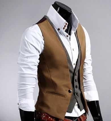 فستان صدرية رجالي جاكيت بلا إكمام رجل سليم صالح فو قطعتين البدلة سترات للرجال الأعمال سترة عادية ذكر أسود براون