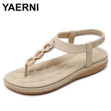 YAERNI Fashion Women Sandals Comfy Flip Flops Rhinestone Crystal Bohemian Boho Flat Heel Sandals Elastic Band Ethnic ShoesE860(China)