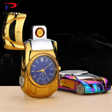 2017 Fashion gold Car model Watch steel Lighter Men's toys collection cool Flameless Watch USB Charging Clock Quartz Wristwatch