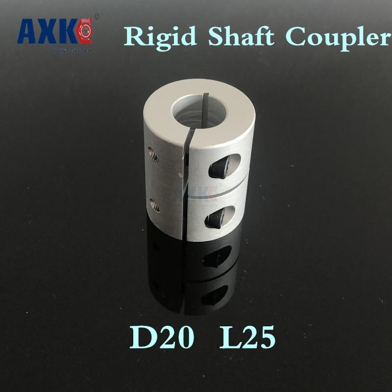 Axk 10pcs Rigid Shaft Coupler Clamp Stepper Servo Motor Coupling D20 L25 3mm, 4mm, 5mm, 6mm, 6.35mm, 7mm, 8mm 1/4 .25 Inch Cnc 3mm shaft screw clamp motor wheel brass coupler coupling