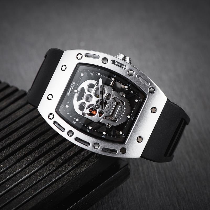 Baogela Pirate Skull Style Men Watch Silicone Luminous Quartz Watches Military Wateproof Skeleton Wristwatch For Man 1612