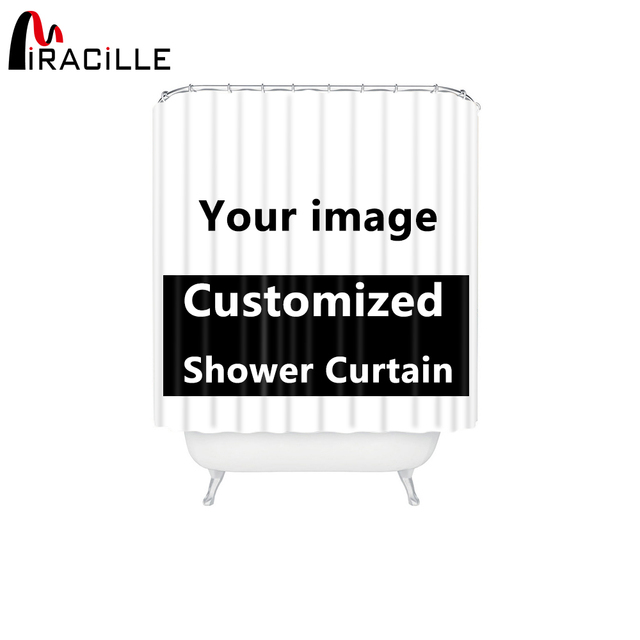 Miracille Customized Shower Curtains Bath Decor Curtain Funny Image Waterproof Polyester Fabric Bathroom Blinds With 12