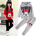 Baby girls clothing sets cartoon 2015 winter children's wear cotton casual tracksuits kids clothes sports suit free shipping