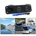 Tripla Função Dual USB Charger + LED Voltímetro Digital + 12 V Tomada de Soquete De Energia Do Painel Para Car Boat Marine Digital dispositivos