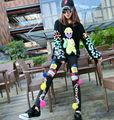 Fashion Cartoon Sequins 2 piece set women autumn winter loose Sequins sweater coat female sequin trousers Elastic Leggings X6278
