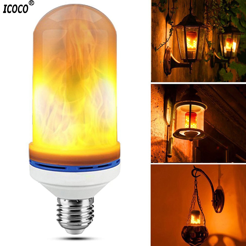 ICOCO E27 LED Flame Bulbs Fire Corn Light Energy Saving Bulb Decorative Lamp For Bars/Home Christmas&New Year Decoration enwye e14 led candle energy crystal lamp saving lamp light bulb home lighting decoration led lamp 5w 7w 220v 230v 240v smd2835