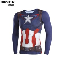 Moto TUNSECHY brand Captain America civil war 3 model compression man long sleeve T-shirt fitness quick dry breathable t shirts