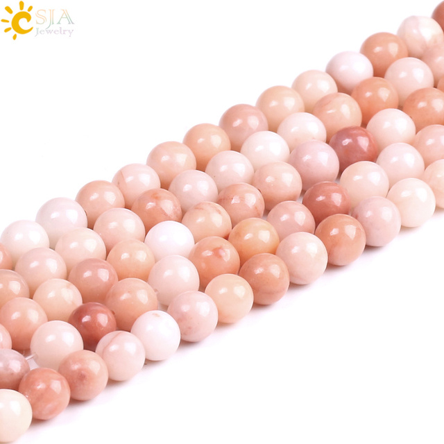 CSJA Natural Stone Pink Aventurine Loose Bead 4 6 8 10mm 1 Strand Spacer Beaded for DIY Bracelet Jewelry Making Accessories F237