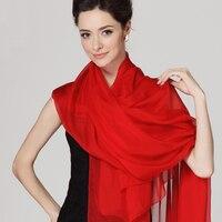 الصين الأحمر طويل الأوشحة السيدات الخريف الشتاء جديد وصول 100% الحرير شال وشاح طويل تصميم الرأس ثخن الشيفون والأوشحة فائقة الكبر