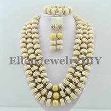 Gorgeous Nigeria wedding Hạt Jewery Set Phi Coral Hạt Trang Sức Set 2017 New Best Selling beaded necklace set W8488(China)
