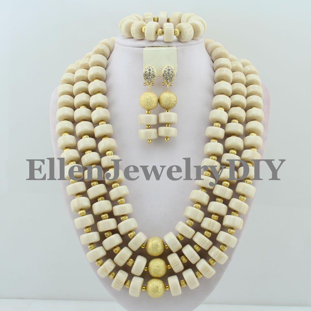 Superbe ensemble de bijoux de perles de mariage nigérian ensemble de bijoux de perles de corail africain 2017 nouveau meilleur vente collier de perles ensemble W8488