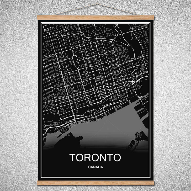 Toronto world city map with wood frame modern oil painting poster toronto world city map with wood frame modern oil painting poster canvas abstract cafe print picture can be customized in wall stickers from home garden gumiabroncs Choice Image