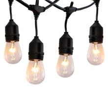 Thrisdar 14M Globe Bulbs S14 Commercial LED String Light With 15PCS 11W Vintage Bulb Porch Patio Garden Street Garland Light