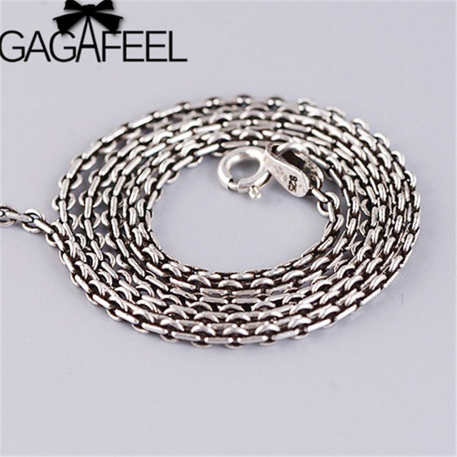 GAGAFEEL 2mm 925 Sterling Silver Long Chains Necklaces for Men Women Thin Men's Chain Retro Thai Silver Jewelry