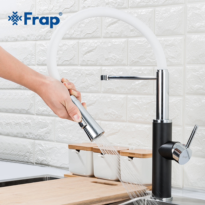 Frap Black White Kitchen Sink Faucet Hot Cold Water Mixer Faucets For Kitchen Pull Out Tap Crane 2 Function Spout F4452-7
