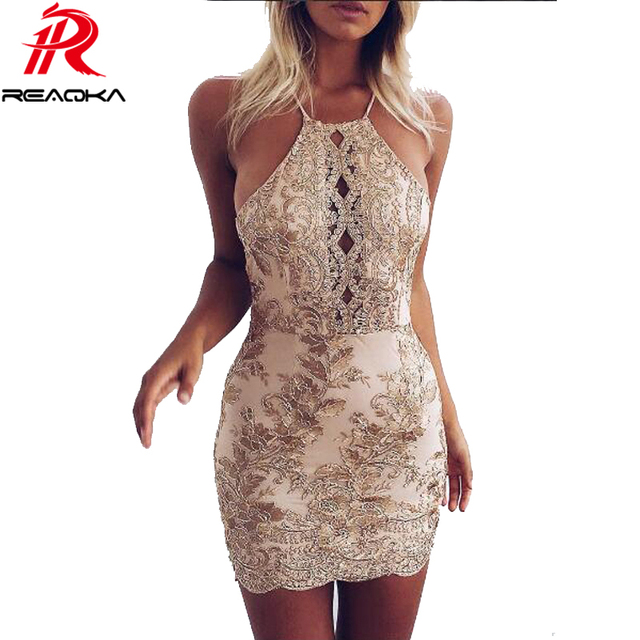 Reaqka New Arrival Chic Embroidery Celebrity Bodycon Strap Sundress 2018 Sexy Sleeveless Halter Hollow Lace Club HL Dress Party