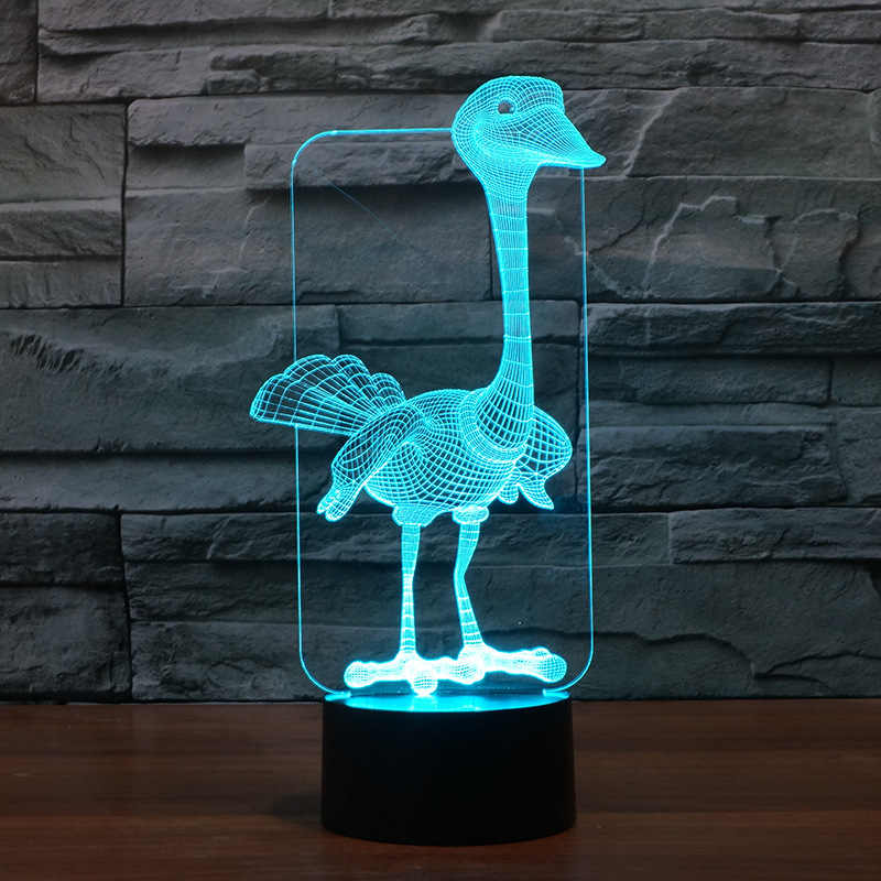 Visual Ambient 3d led Lamps Creative Gift Of Lock And Bird Colorful 3d Table Lamps For Living Room Remote Touch switch Desk Lamp