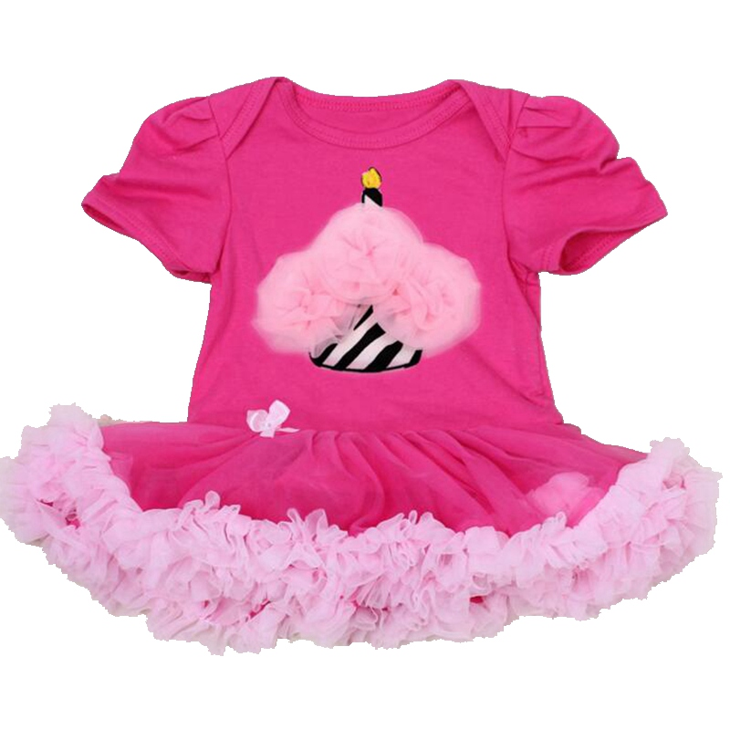 Ruffle Cake Hot Pink 1st & 2nd Birthday Outfits Newborn Lace Petti Romper Party Dresses Macacao Bebe Overalls Baby Girl Clothes