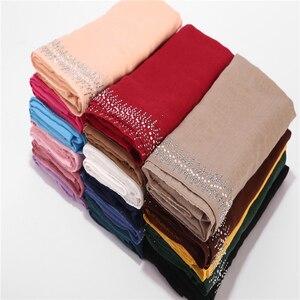 Image 2 - 10pc/lot Viscose Soft Cotton Scarf With Diamond Womens Plain Pearls Hijab Scarf Female Hijab Scarf Shawl Wrap Muslim Hijabs