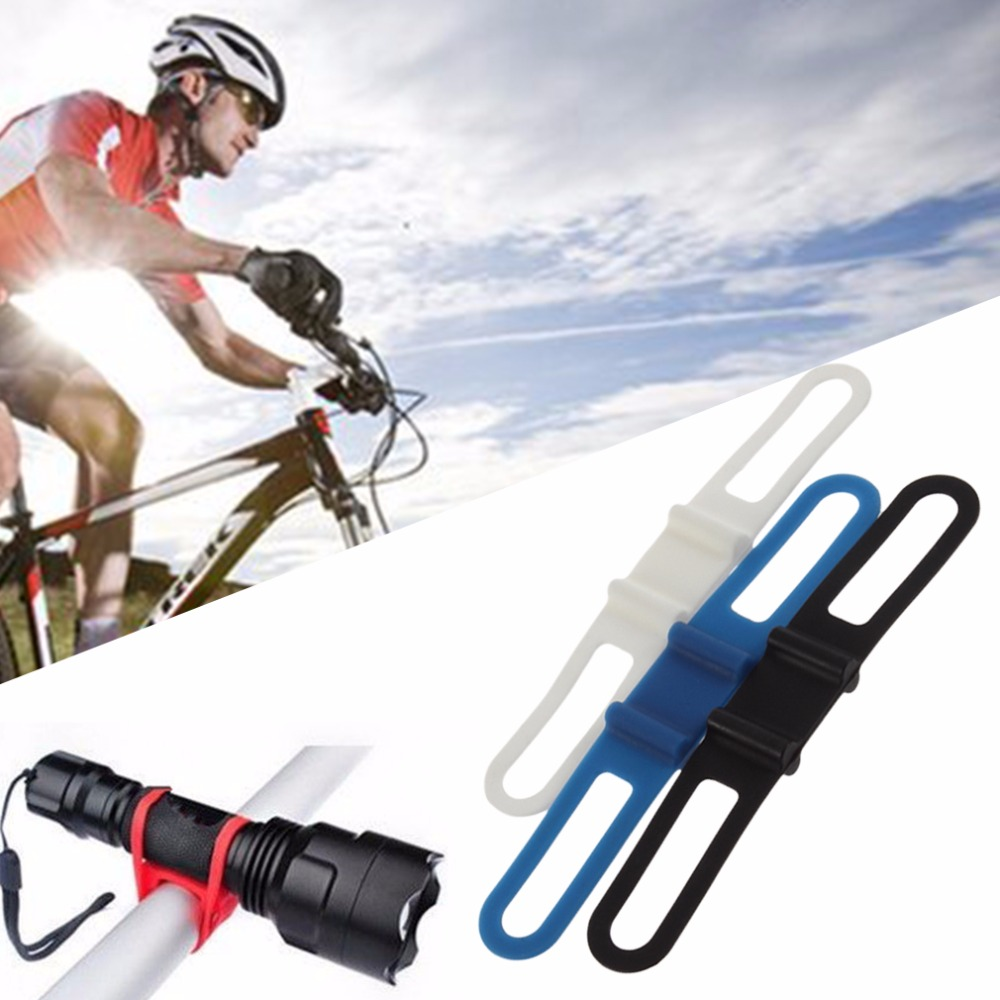 1pc/2pieces Cycling Bike Bicycle Silicone Elastic Strap Bandage <font><b>Flashlight</b></font> <font><b>Mount</b></font> Holder image