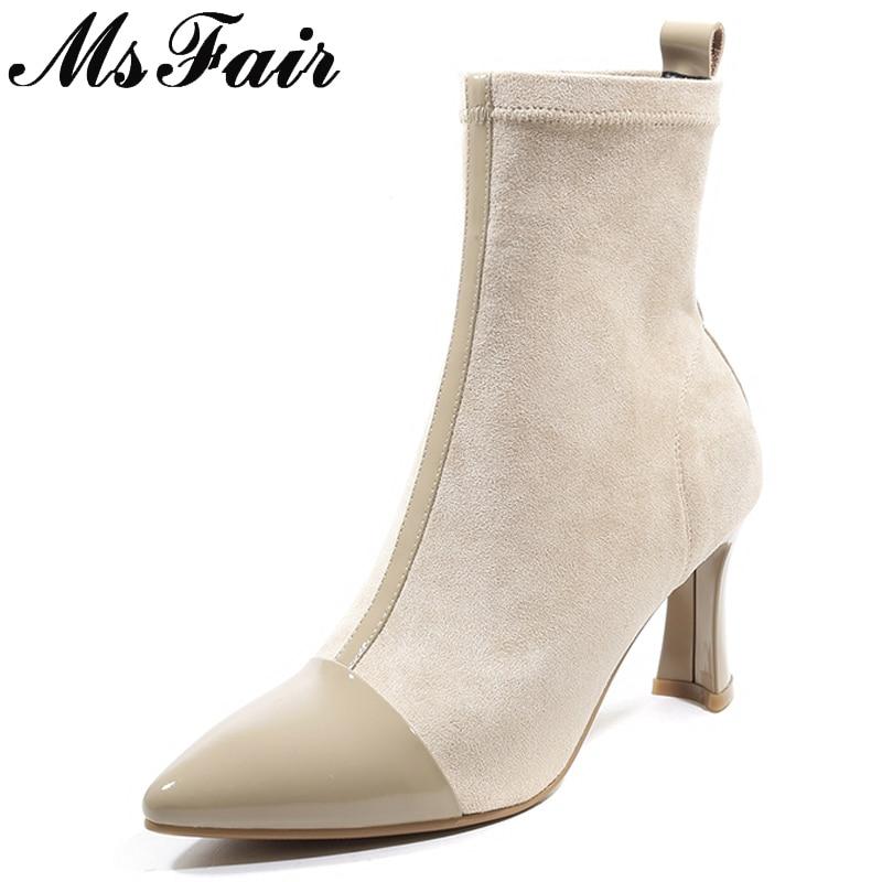 Botas Chica Zapatos Mujer Msfair Tobillo Tacón Alto Para Caqui Bota De Negro Caliente Negro Venta Cuadrado khaki Aq4S64wd