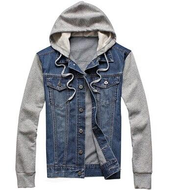 Мужские ковбойские куртки, модные джинсы с капюшоном и капюшоном, новинка 2018