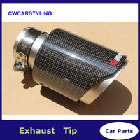 New Model 1pcs Multi Size Top Quality Akrapovic Car Glossy Carbon Fiber Exhaust Tip For BMW BENZ AUDI VW End Pipes Tips