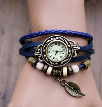 Fashion Vintage Leaf PU Leather Band Women Quartz Bracelet Watches