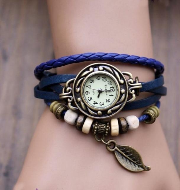 Fashion Vintage Leaf PU Leather Band Women Quartz Bracelet Watches