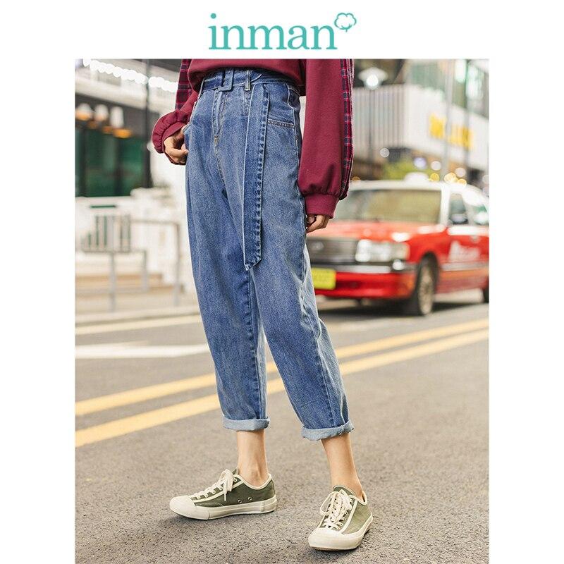 INMAN 2019 automne nouveauté 100% coton avec ceinture plaqué mode Slim tout assorti femmes crayon Jeans