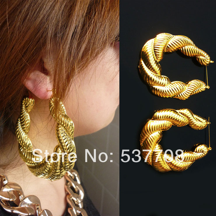 Hiphop Cheap Gold Silver Bamboo Hoop Earring Jewelry Personalized