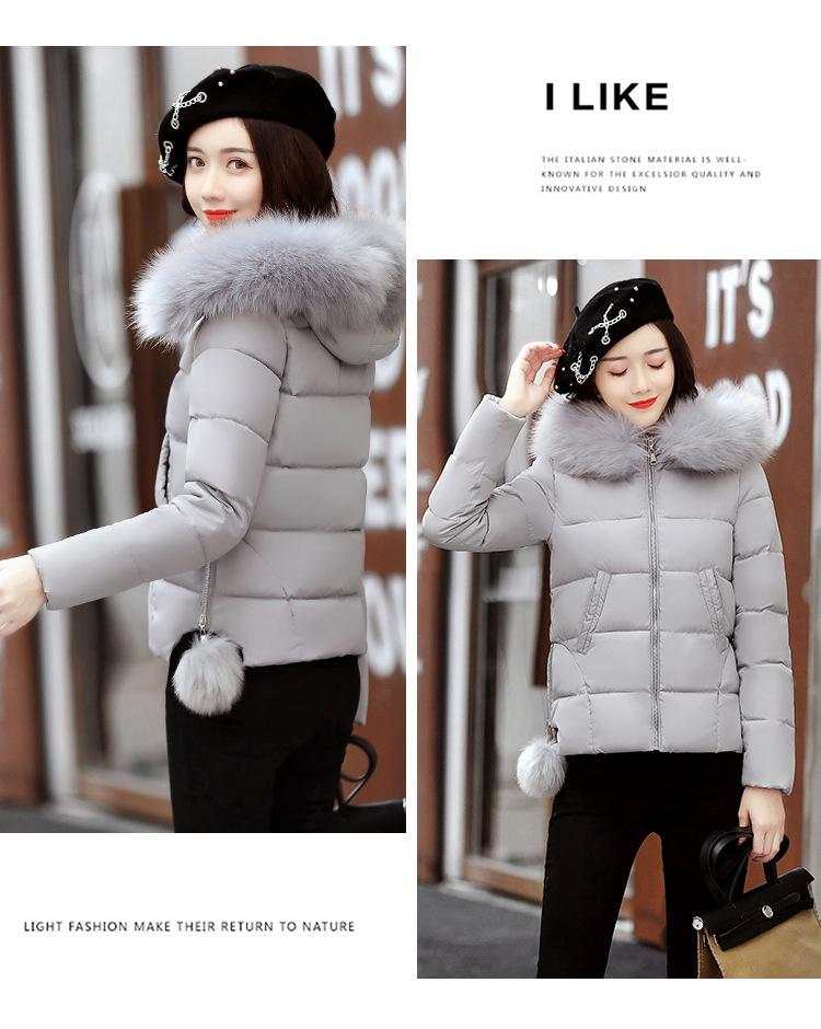 Short Women Basic Jackets Streetwear Warm Casual Coats Female Parka Cotton Hooded Winter Women Jacket Coat Outwear 19 DR114 10