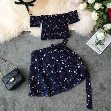 Women Summer Two Piece Sets New 2019 Ladies Sexy Shash Neck Off Shoulder