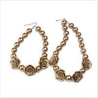 Groothandel Gold Gekleurde Resin Rose Bloemen Chunky Gumball Parels Kralen Kettingen 2 Sets/partij Bubblegum Sieraden voor Moeder & Kid