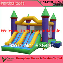 PVC tarpaulin small inflatable bouncer with slide/inflatable combo/inflatable castle+DHL freeshipping