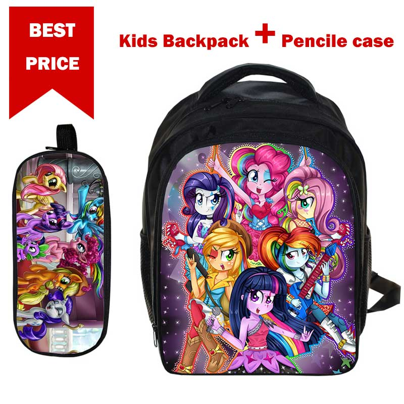 2018 Gifts for 3-6 years Boys Girls School Bag Anime My Little Pony Backpack with Pencil Case for Children Satchel Bag Daypack