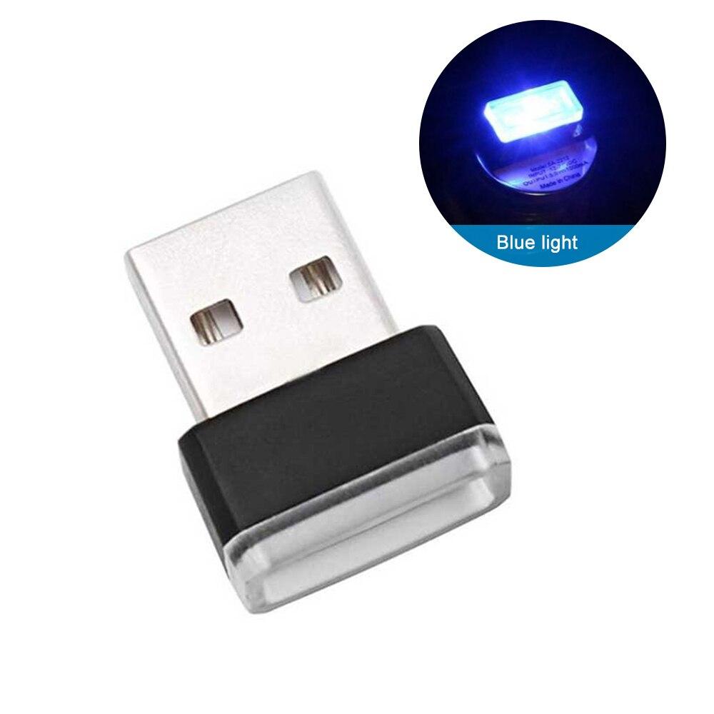 Мини-светодиод машины светильник авто Интерьер USB атмосферный свет Plug and Play Декор лампа аварийный светильник ing PC автомобильные аксессуары - Испускаемый цвет: 1